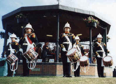 Drummers beat the retreat